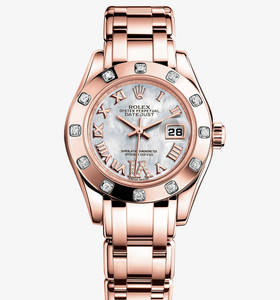 Replik Rolex Lady-Datejust Pearlmaster Uhr: 18 ct Everose gold - m80315 -0014