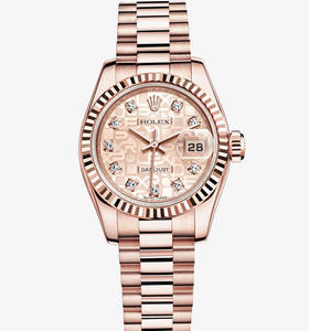 replica rolex lady-datejust watch: 18 ct everose gold – m179175f-0003