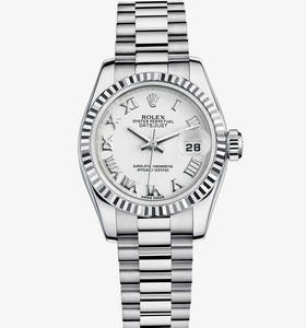 replica rolex lady-datejust watch: 18 ct white gold – m179179-0149