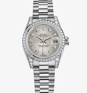 replica rolex lady-datejust watch: 18 ct white gold – m179159-0026