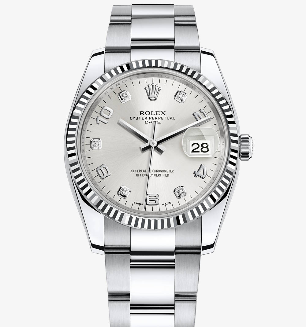 replica rolex oyster perpetual date watch: white rolesor - combination of 904l steel and 18 ct white gold – m115234-0012