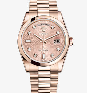 Replica Rolex Day-Date horloge: 18 ct everose goud - m118205f - 0004
