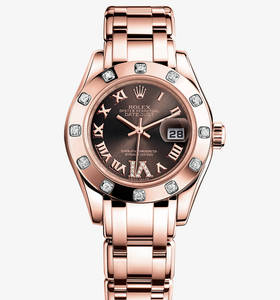 replika Rolex Lady - Datejust Pearlmaster klocka : 18 ct everose guld - m80315 - 0013